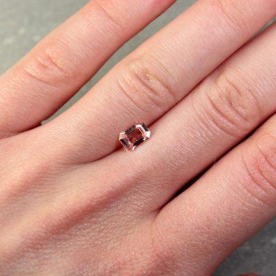 0.95 ct orangy pink padparadscha emerald cut sapphire