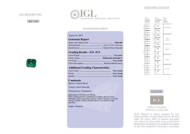 1.12 ct bluish green octagon emerald