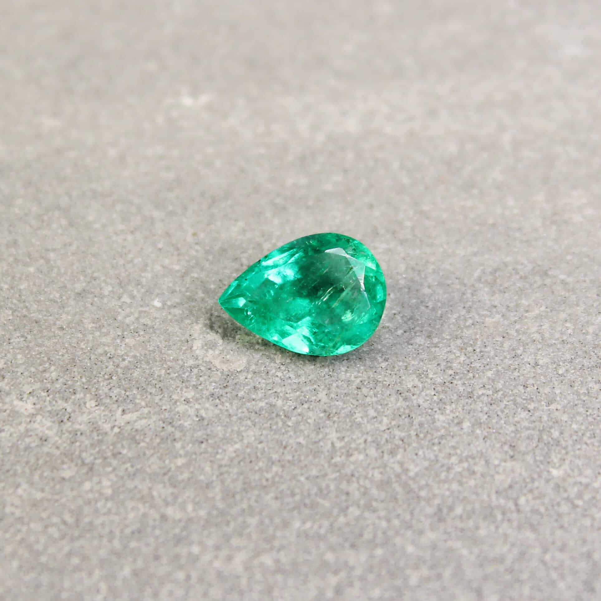 1.16 ct bluish green pear emerald