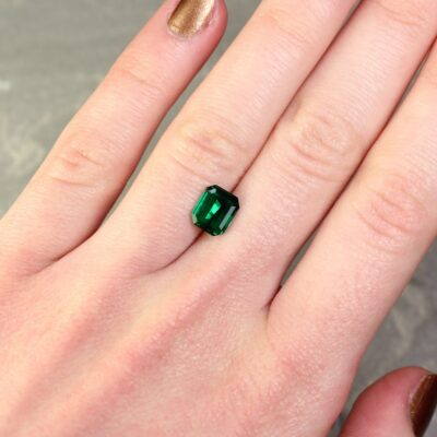1.27 ct dark bluish green octagon emerald