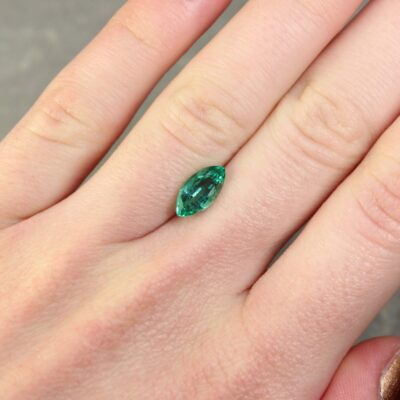1.42 ct bluish green marquise emerald