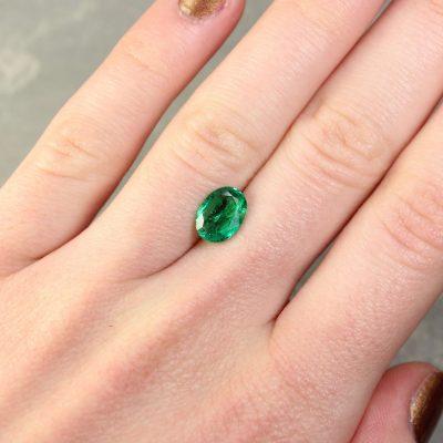 1.48 ct bluish green oval emerald