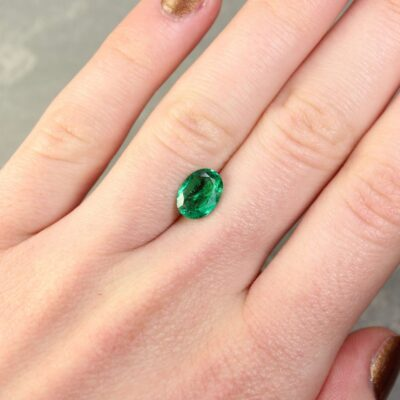 1.48 ct bluish green oval emerald