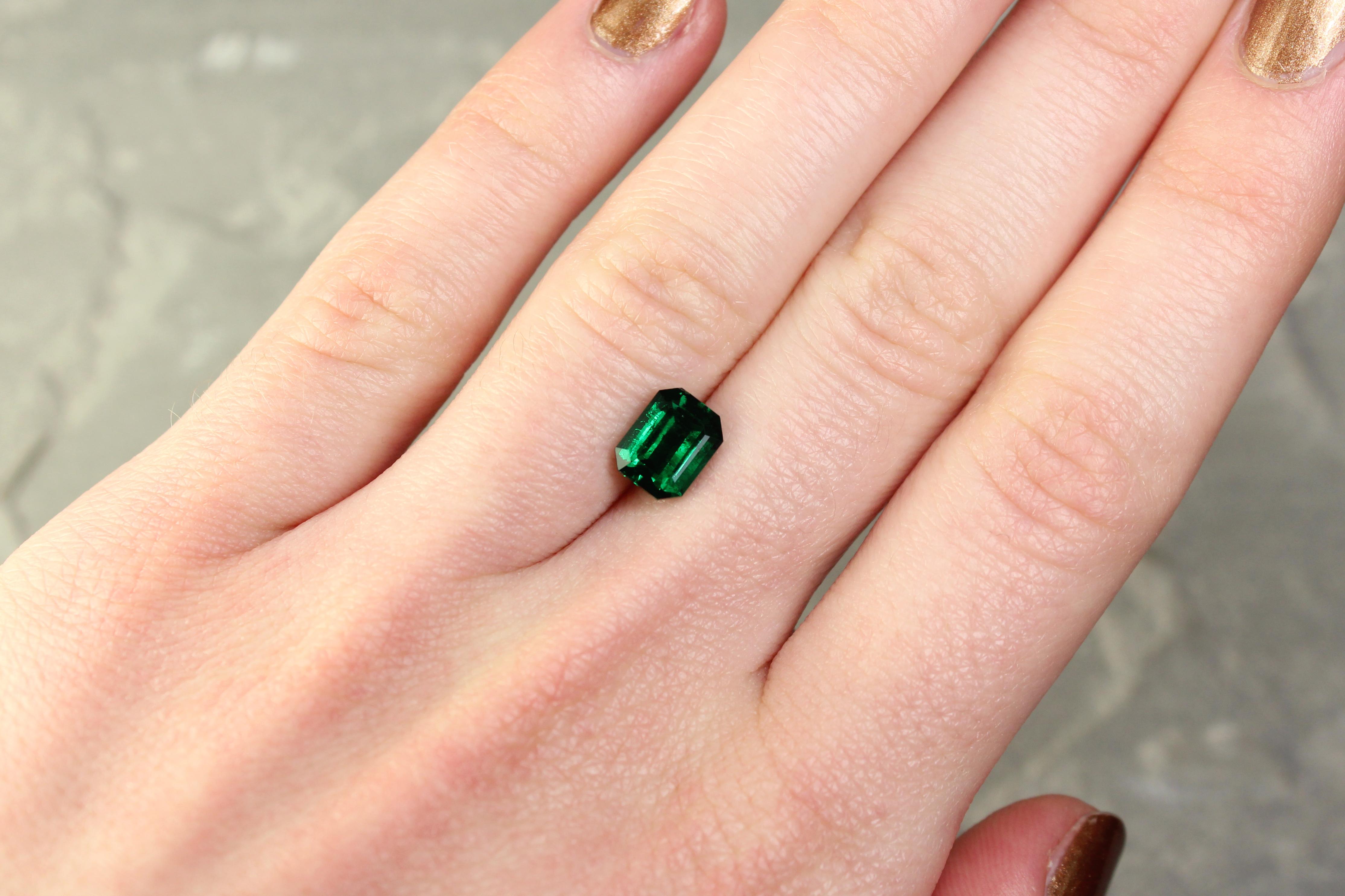 1.62 ct octagon bluish green emerald