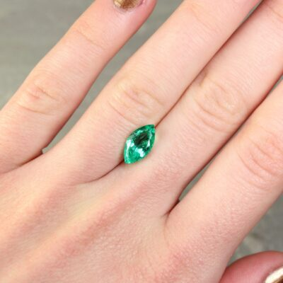 1.77 ct bluish green marquise emerald
