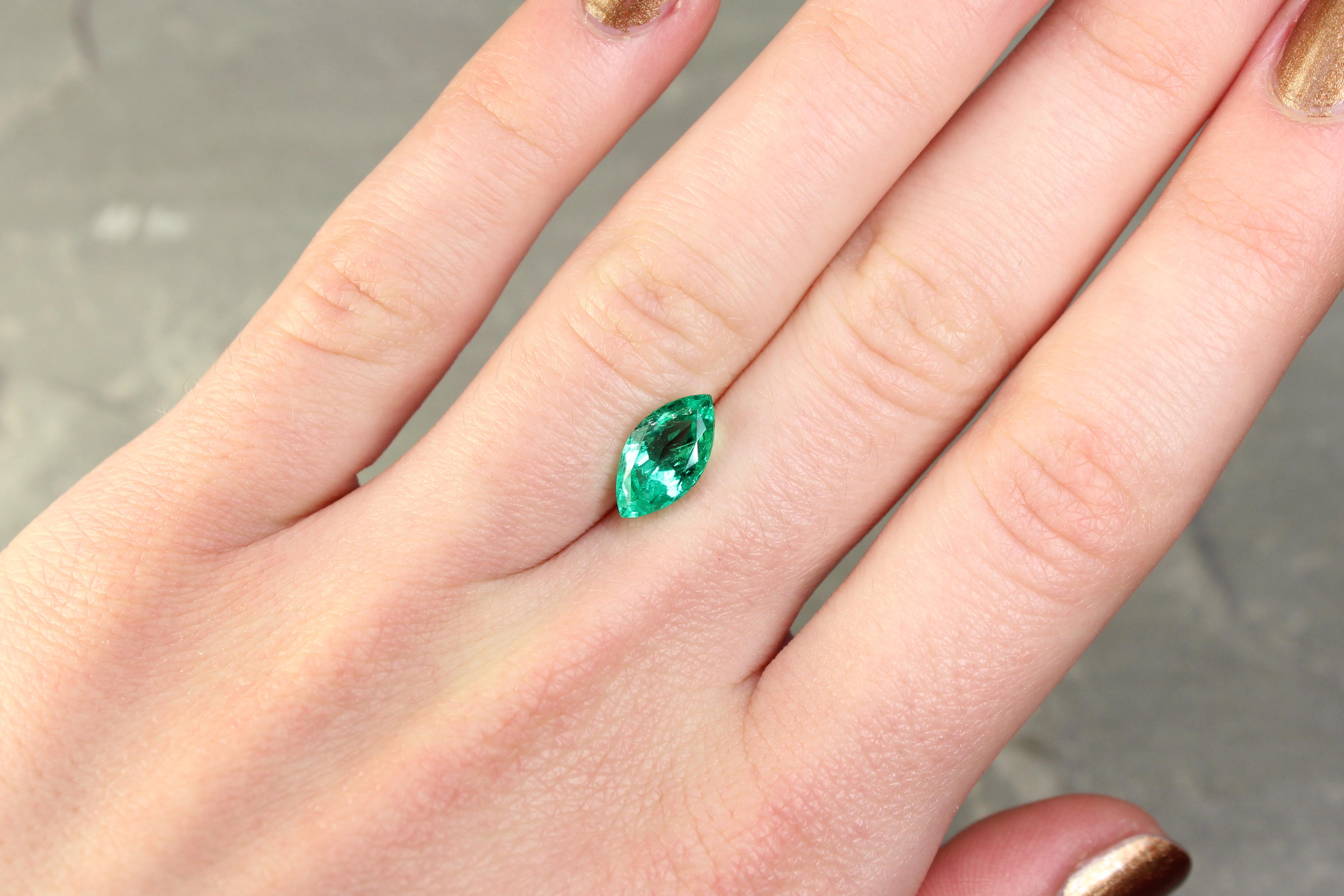 1.77 ct bluish green marquise emerald