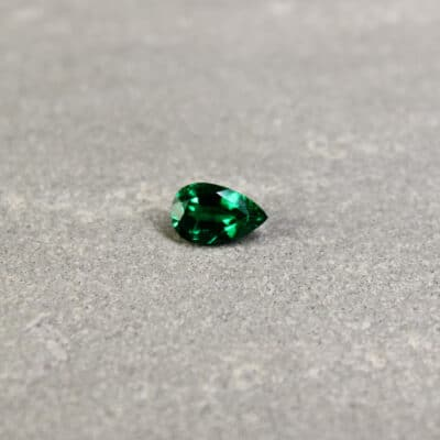 0.53 ct green pear shape emerald