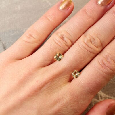 1.22 ct radiant yellow sapphire pair