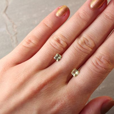 1.26 ct radiant yellow sapphire pair