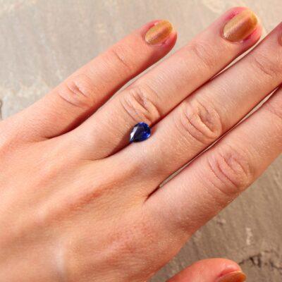 1.26 ct pear shape blue sapphire