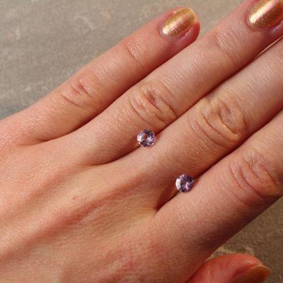 1.30 ct round pink sapphire pair
