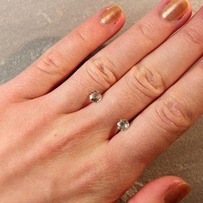 1.32 ct round yellow sapphire pair