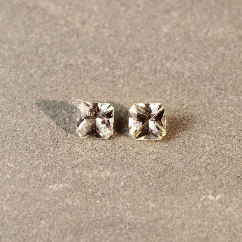 1.37 ct yellow radiant sapphire pair