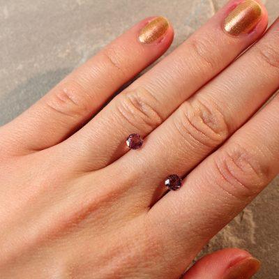 1.43 ct round brownish pink sapphire pair
