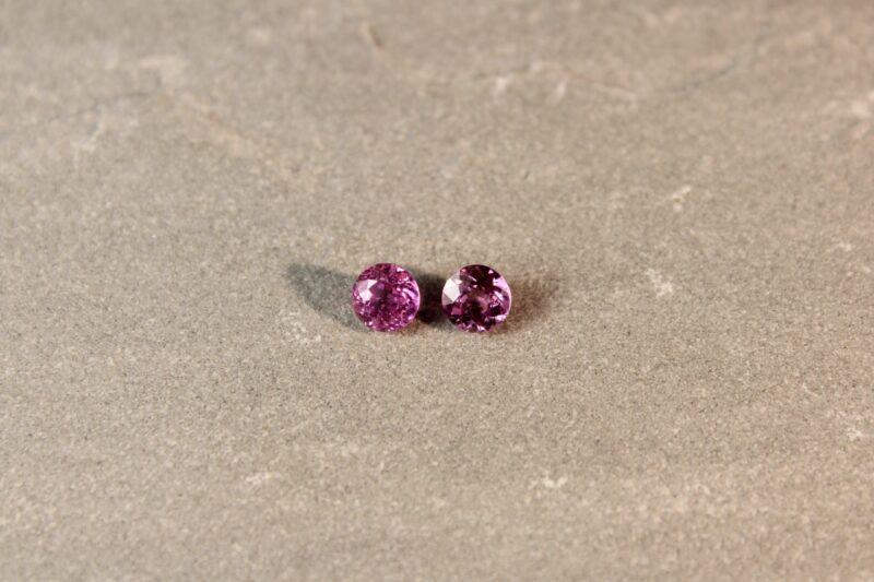 1.43 ct round pink sapphire pair