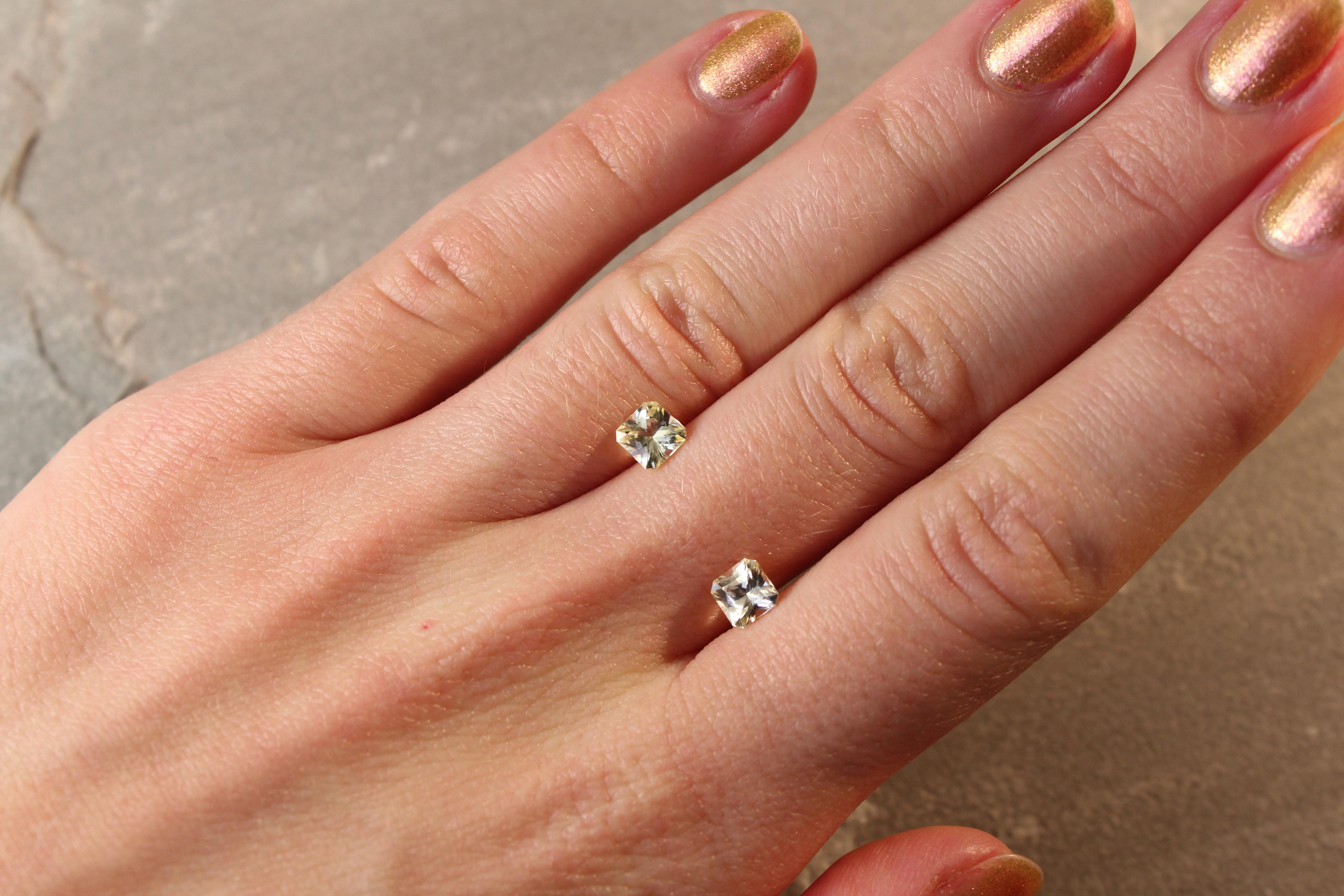 1.43 ct radiant yellow sapphire pair