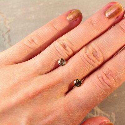 1.47 ct round yellow sapphire pair