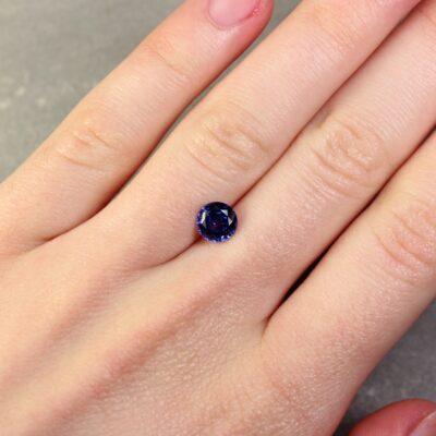 1.48 ct round blue sapphire