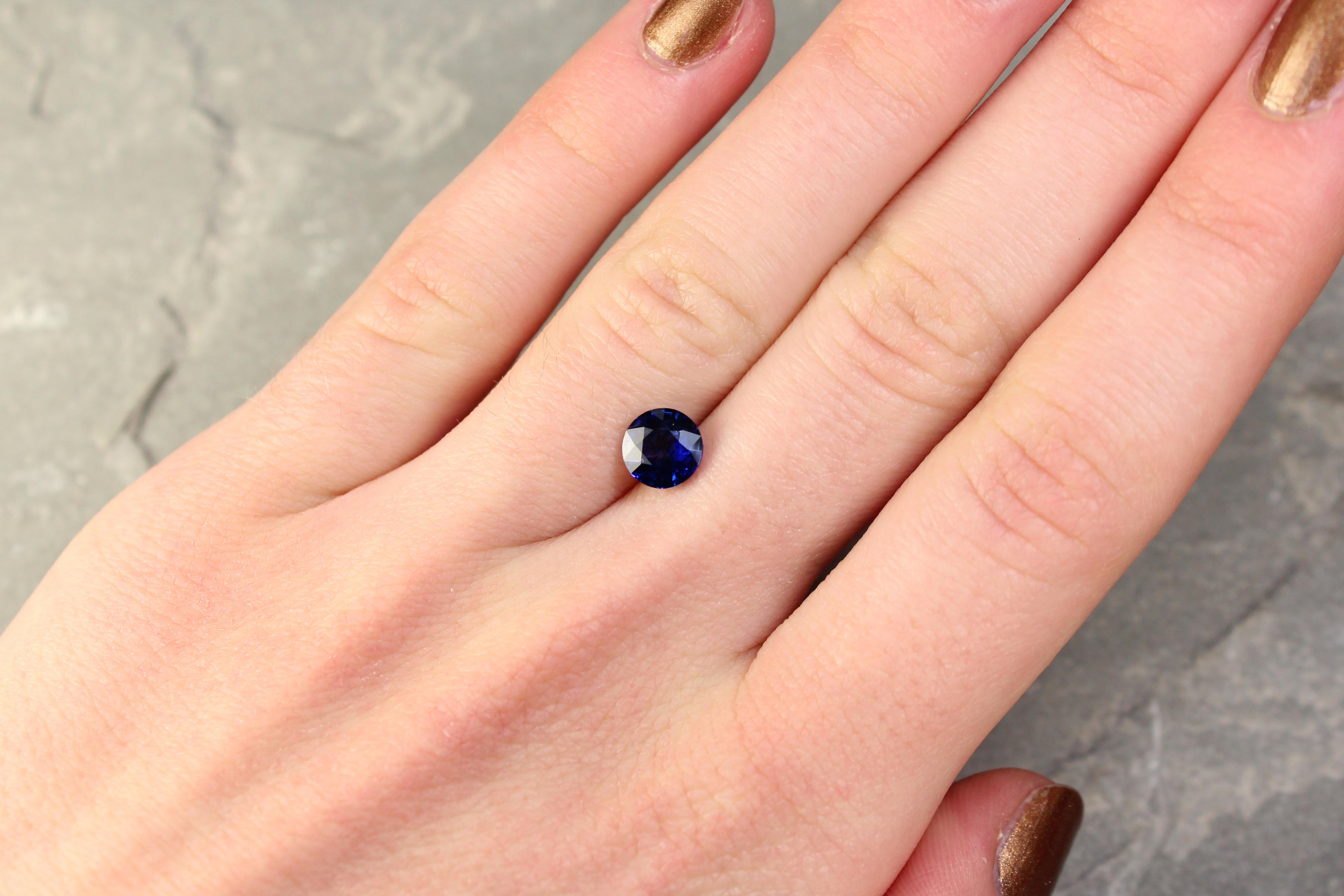 1.52 ct round blue sapphire