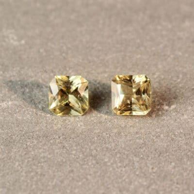 1.52 ct radiant yellow sapphire pair