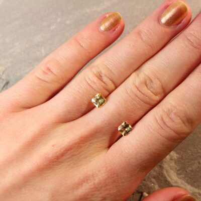 1.57 ct yellow radiant sapphire pair