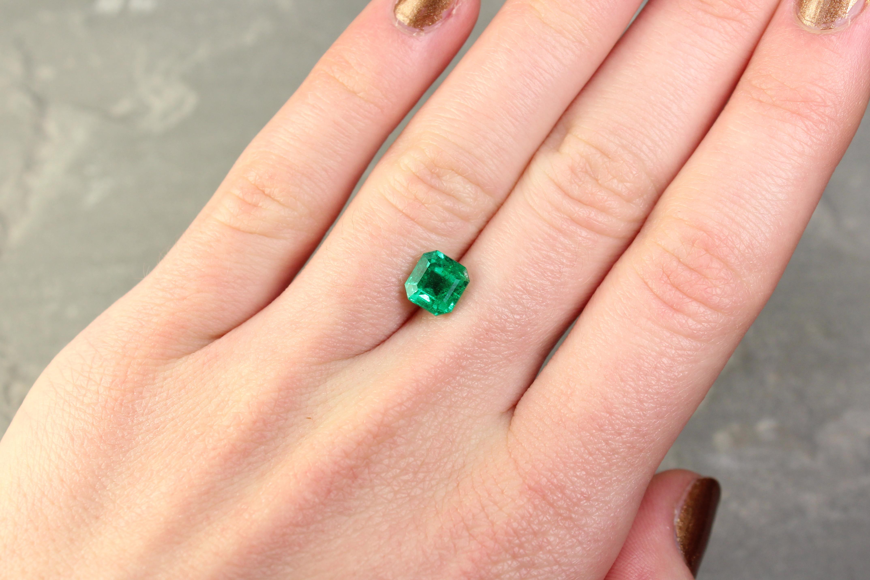 1.68 ct green octagon emerald