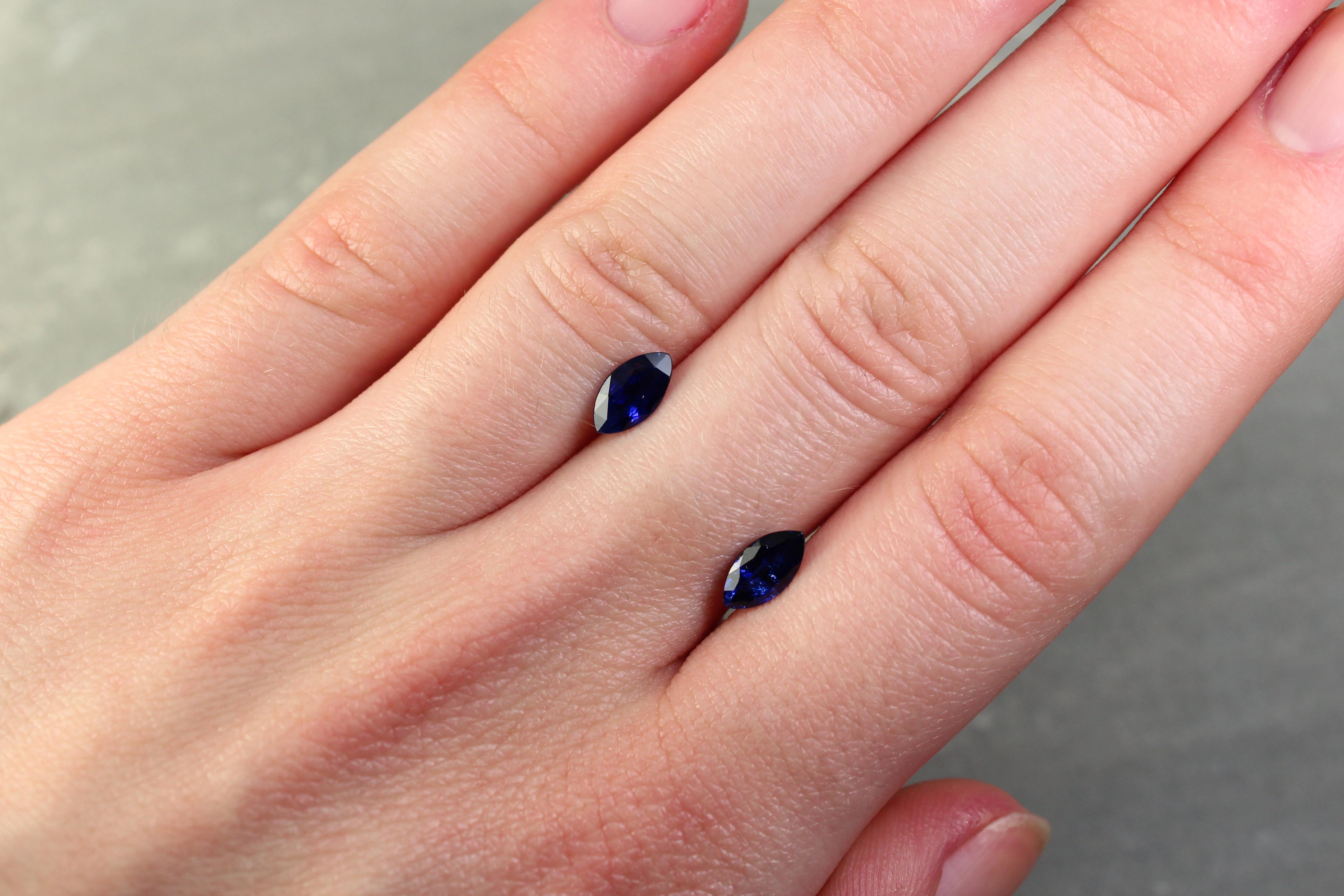 1.78 ct blue marquise sapphire pair