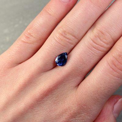 1.87 ct pear shape blue sapphire
