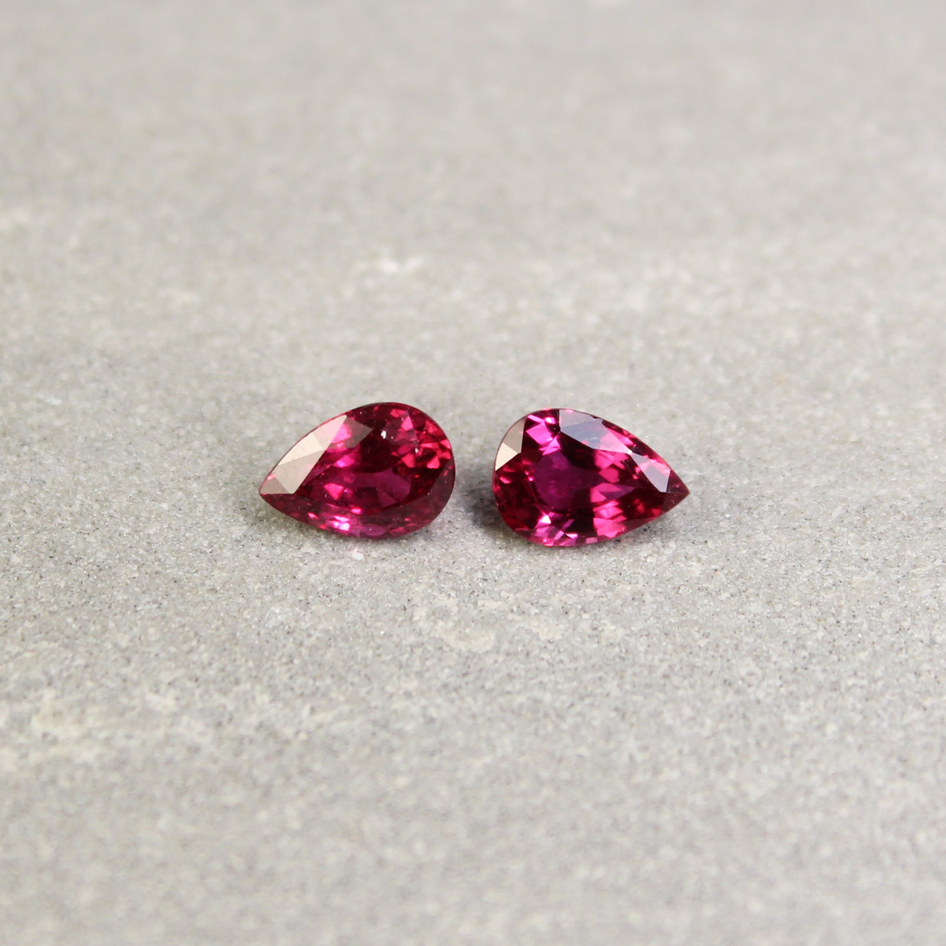 1.87 ct pear shape ruby pair