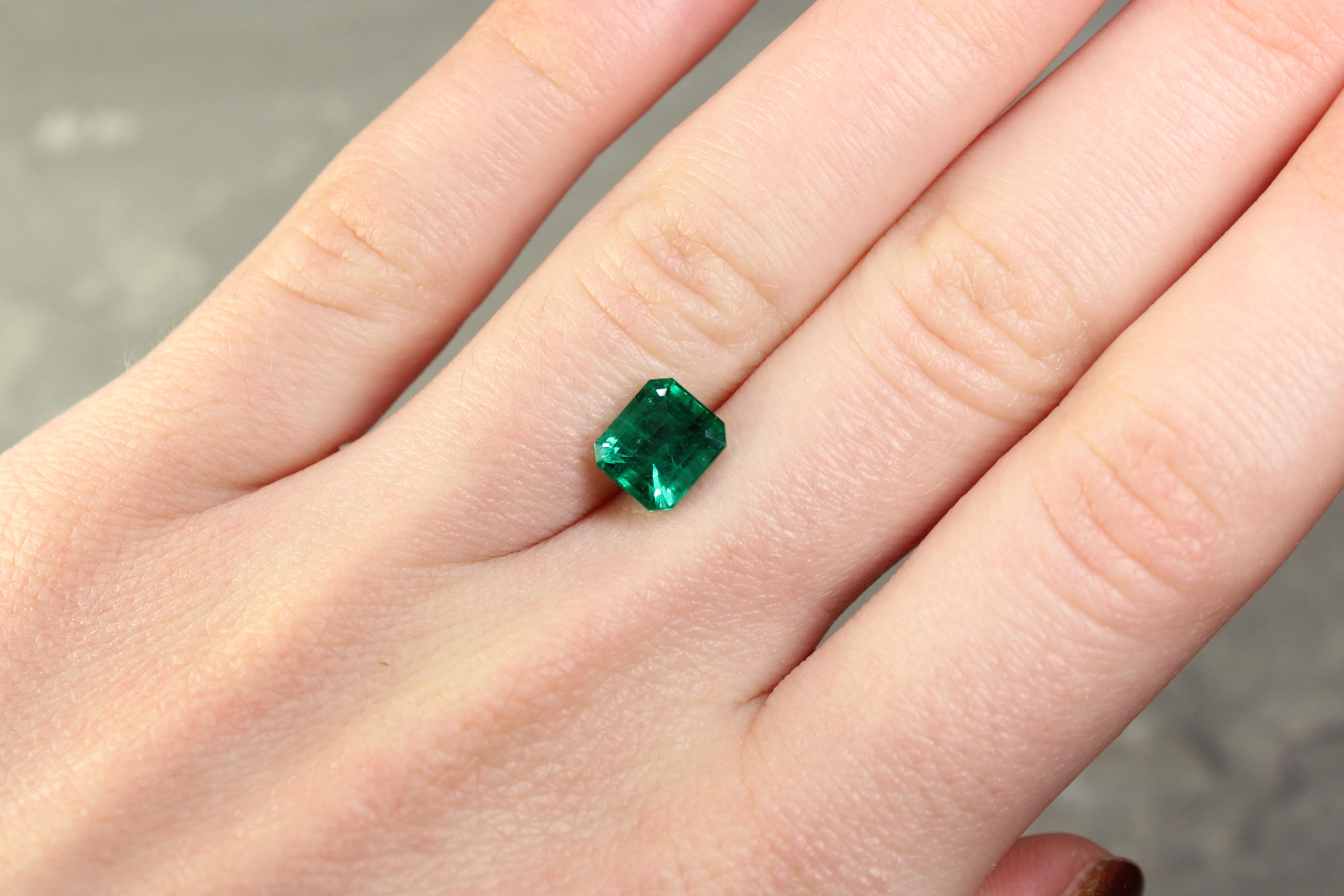 1.93 ct green octagon emerald