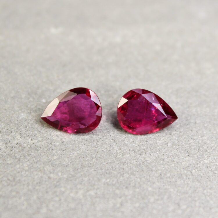 1.96 ct pear shape ruby pair
