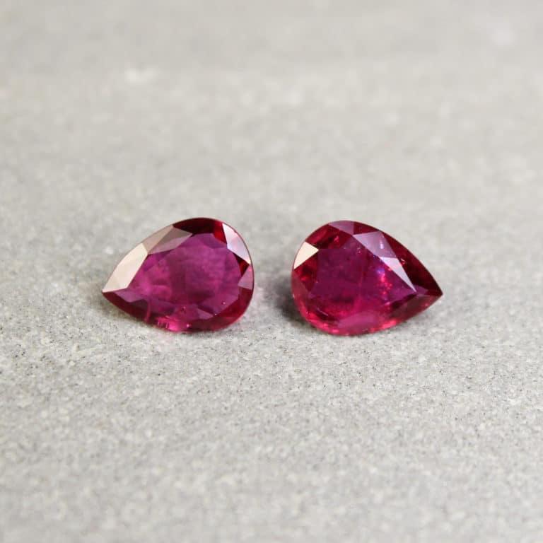 1.96 ct pear shape ruby pair