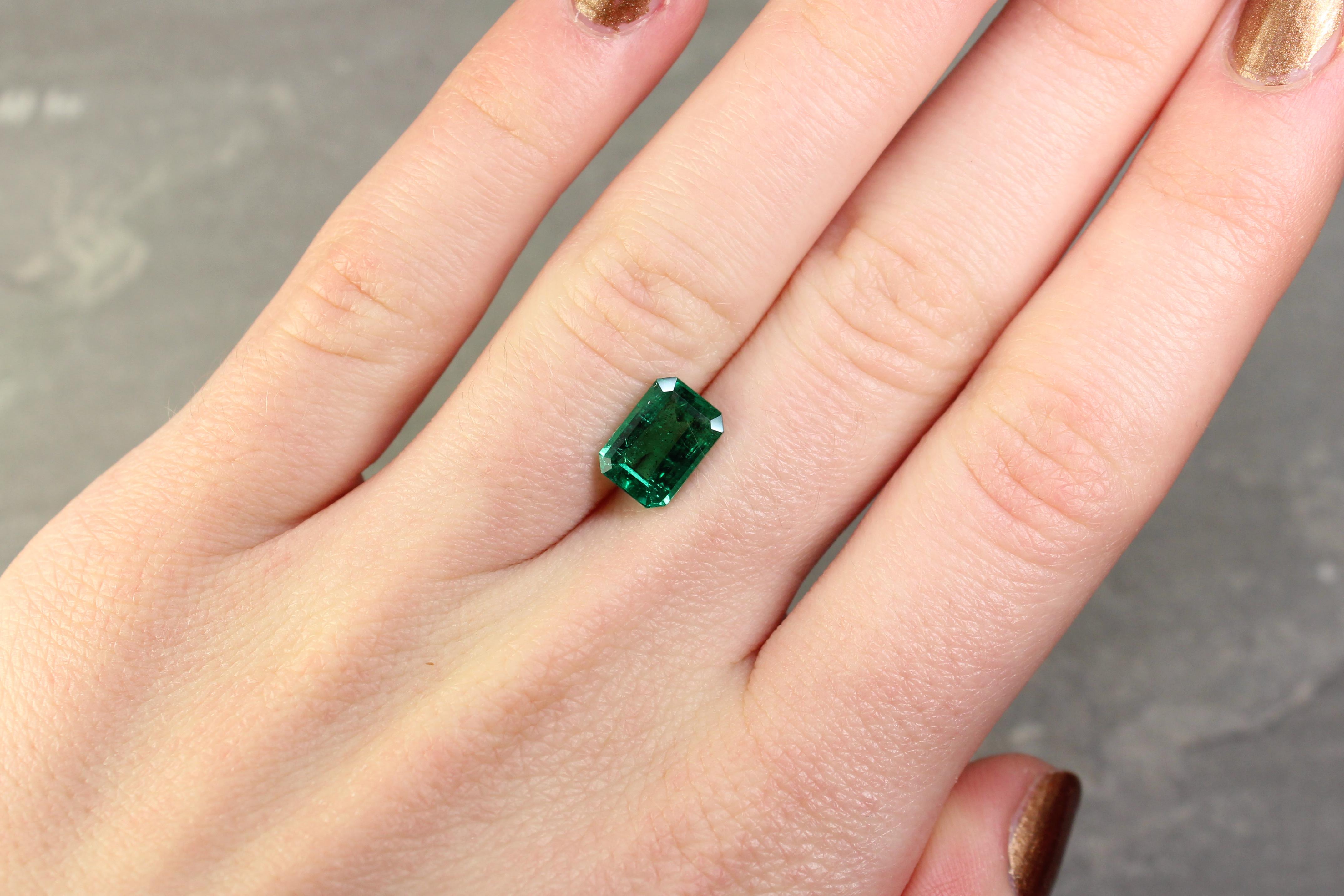 1.97 ct green octagon emerald