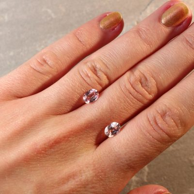 2.05 ct oval pink sapphire pair