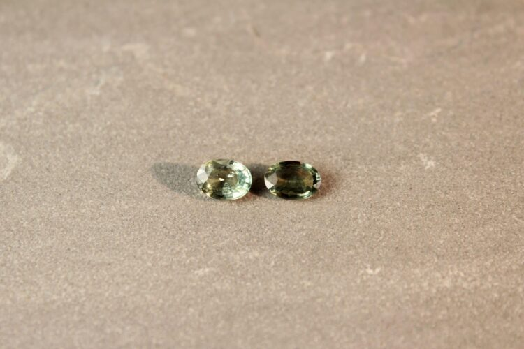 2.06 ct oval green sapphire pair