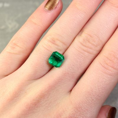 2.29 ct bluish green radiant emerald