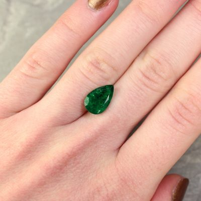 3.13 ct green pear shape emerald