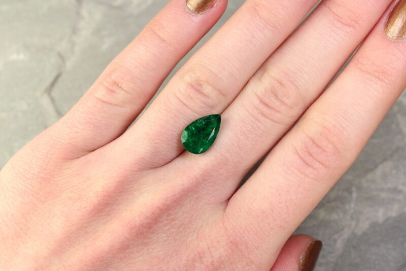 3.13 ct green pear shape emerald