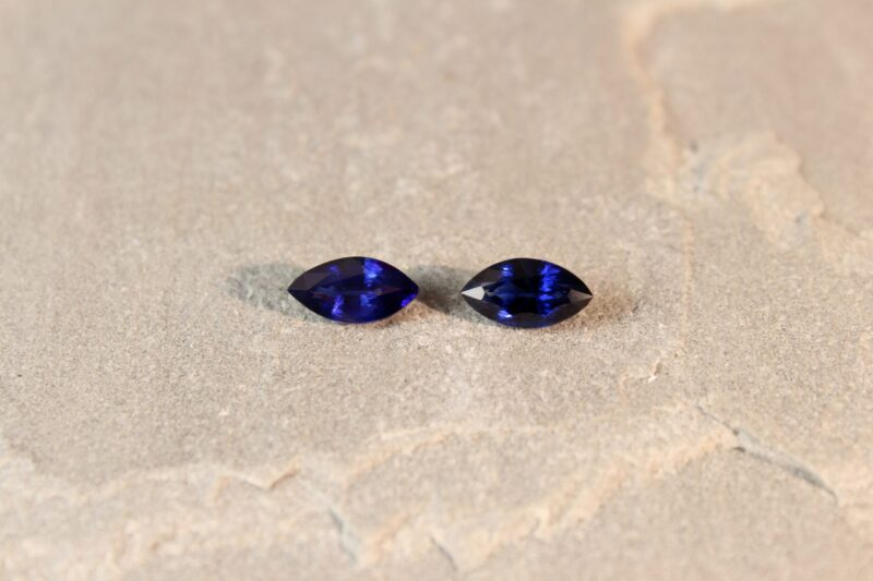 3.17 ct marquise blue sapphire pair