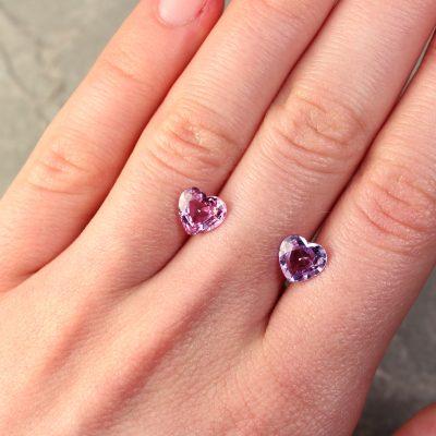 Heart Shape Pink/Purple Sapphire Pair