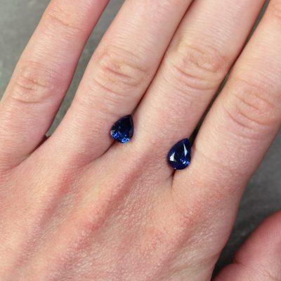 Pear Shape Blue Sapphire Pair