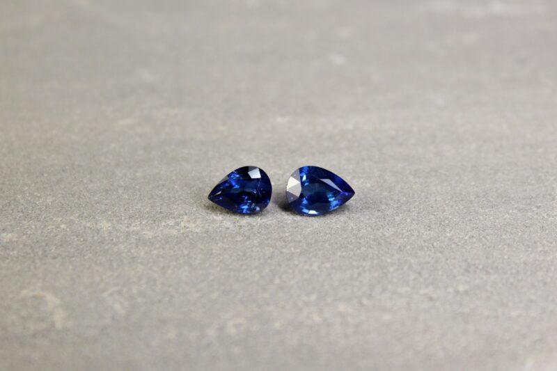 3.69 ct pear shape blue sapphire pair
