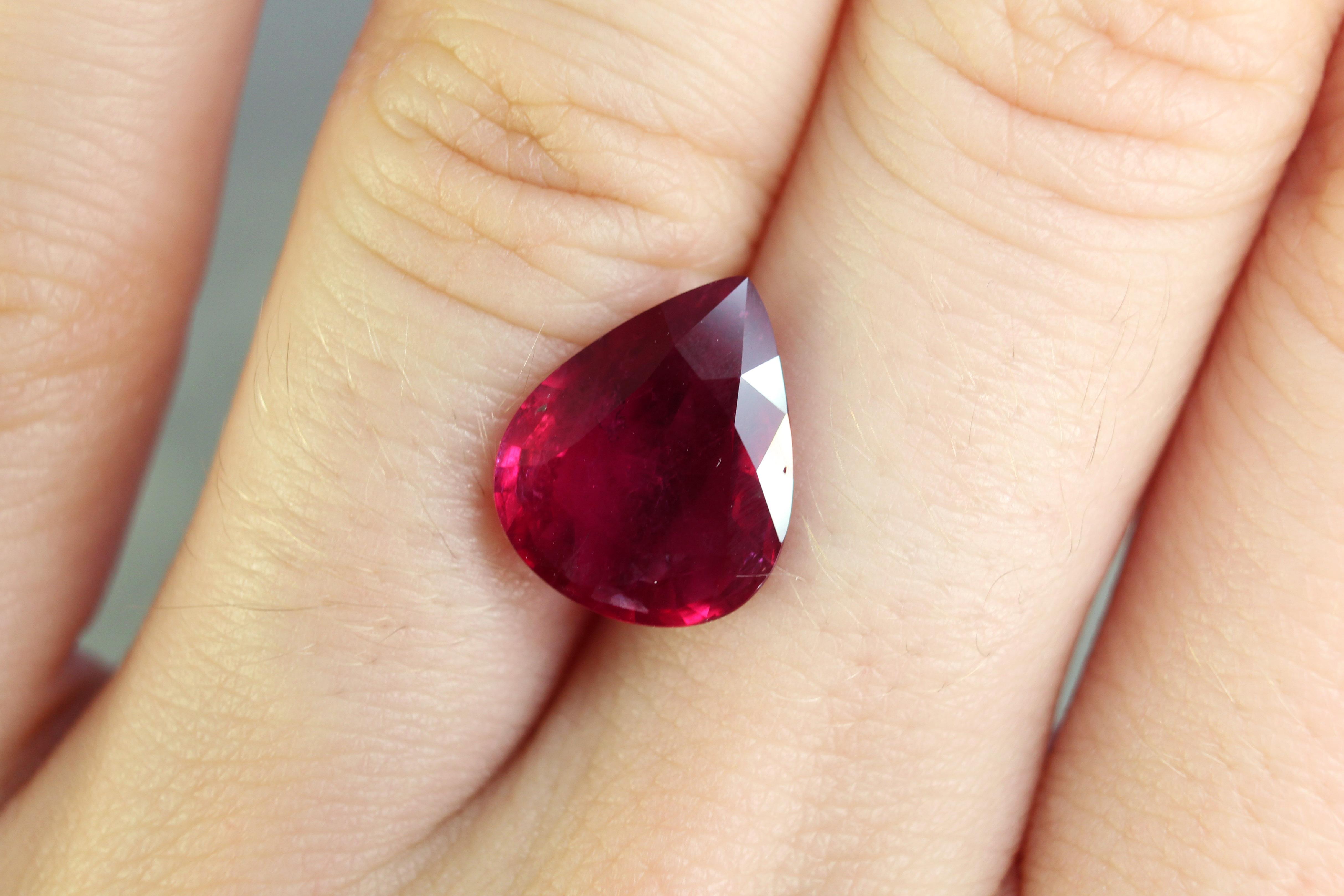4.07 ct pear shape ruby