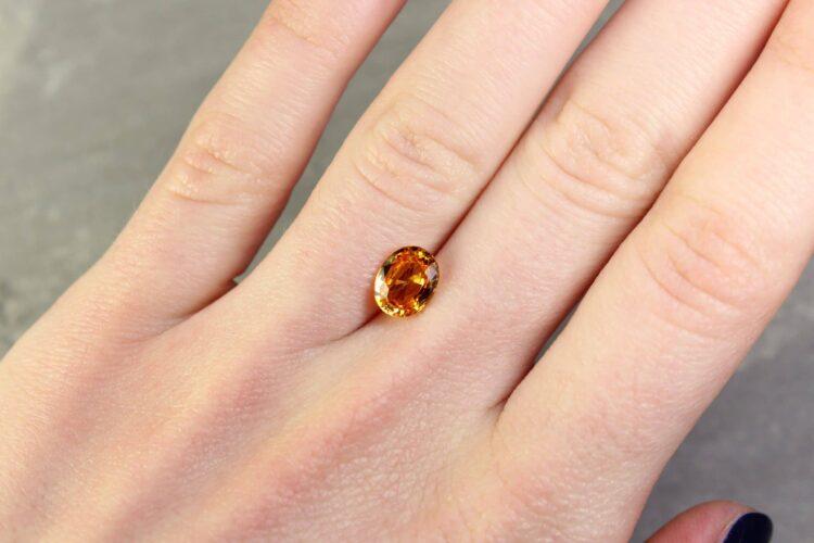 2.04 ct orange oval sapphire