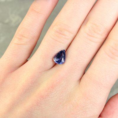 2.25 ct violetish blue pear shape sapphire