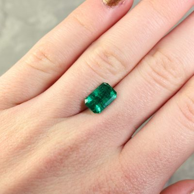 2.32 ct bluish green octagon emerald