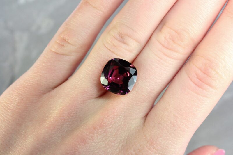 12.08 ct purple cushion rhodolite