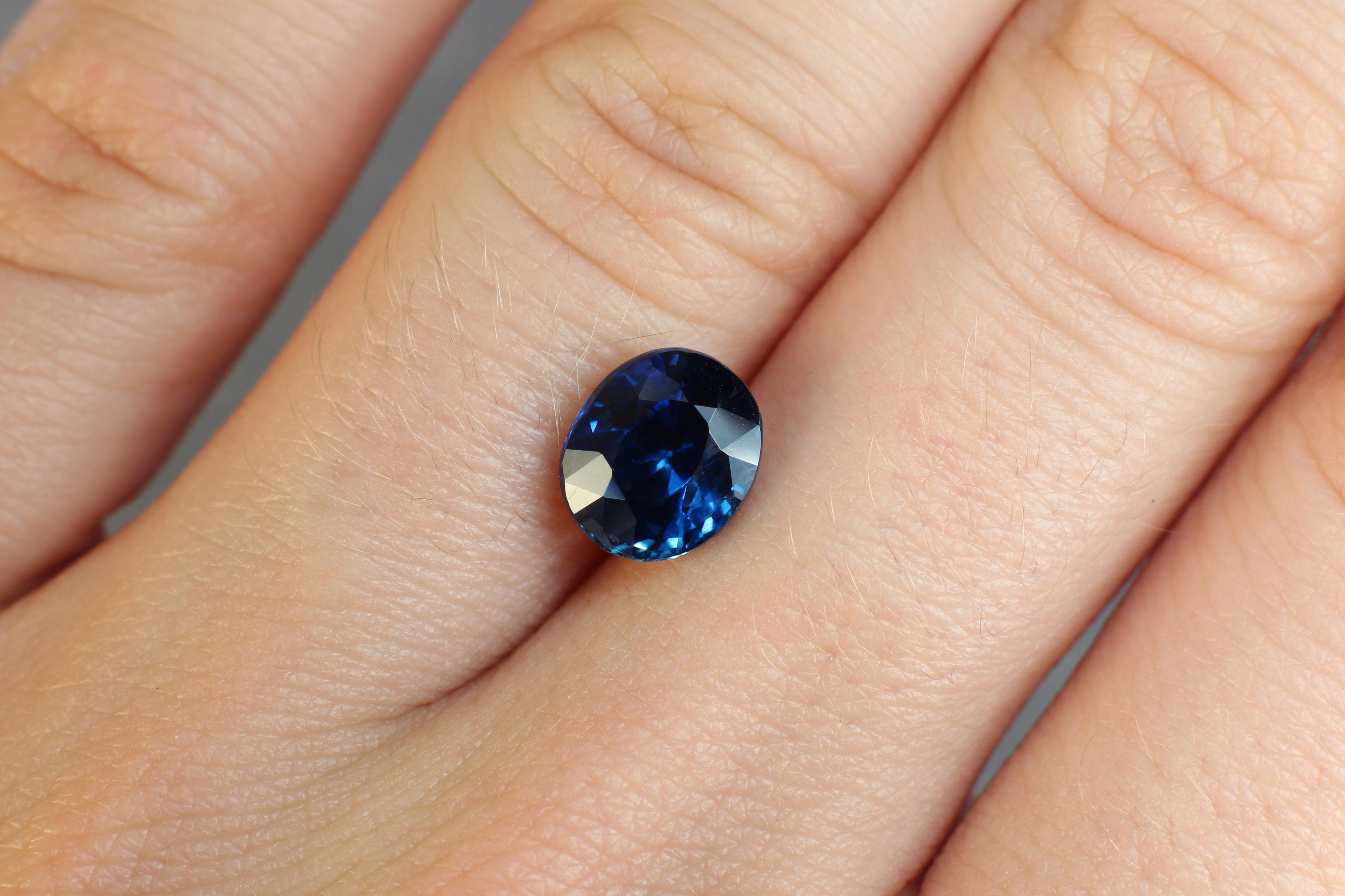2.79 ct blue oval sapphire