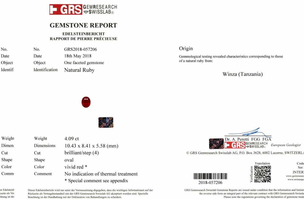 4.09 Vivid Red Oval Ruby GRS Certificate