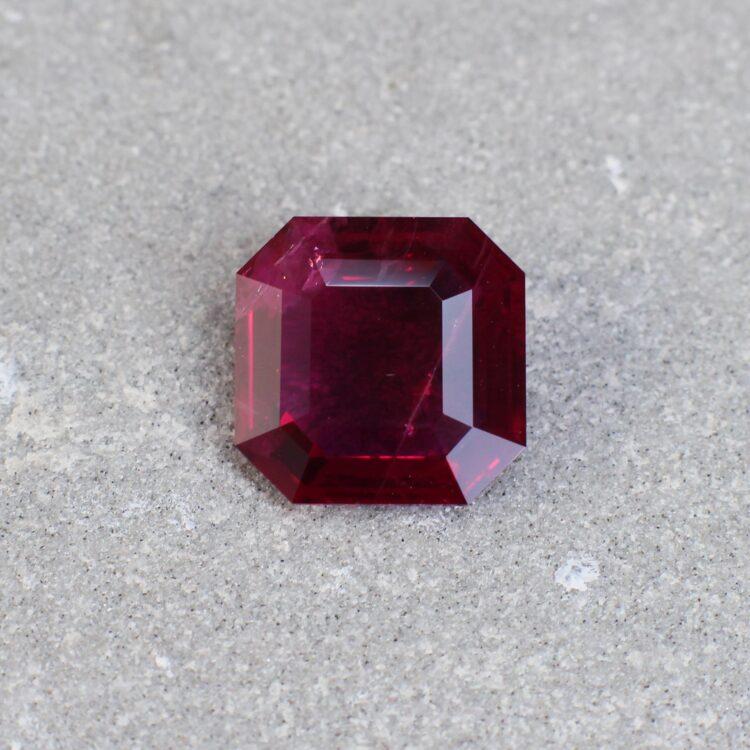 3.06 ct red asscher cut ruby